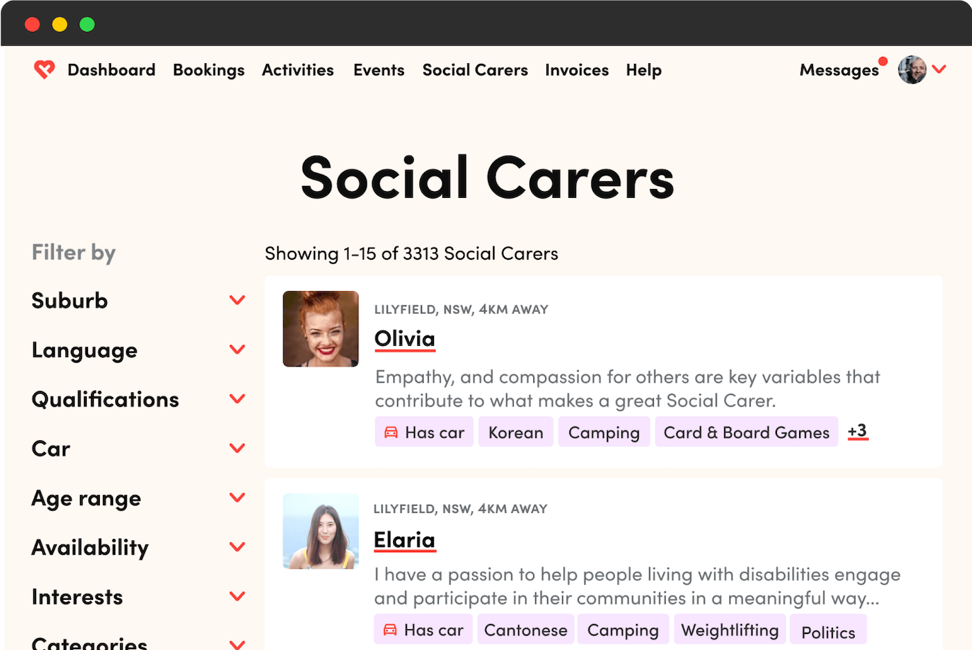 A browser showing Like Family's Social Carer search.